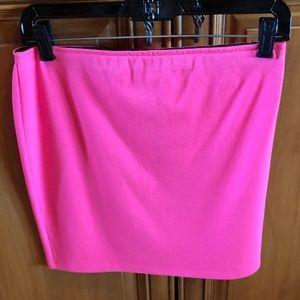 Aqua Poly/Rayon Elastic Band Neon Pink Mini Skirt